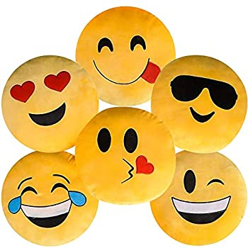 ArtCreativity Assorted Round Emoji Pillows - Pack of 6 - Yellow Smile Face Cushions Soft Stuffed Emoji Decorations Cute Living Room Bedroom Décor Emoji Birthday Party Favors for Kids and Adults