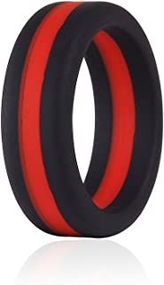Silicone Wedding Bands with Blue Red Black Gunmetal Thin Line for Men