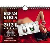 Calendario de pared 2021 (21,0 x 14,8 cm) chica erotica sexy Dreamgirls - Contenido del set de regalo: 1x calendario, 1x tarjeta de Navidad y 1x tarjeta de felicitación (3 partes en total)