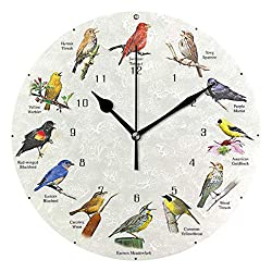 HSGRSSGF Home Decor Art D Singing Bird Wall Clock Round Style,Silent Non -Ticking Wall Clock, Battery Operated Art Decorative for Kitchen,Living Room,Kids Room and Coffee Decor (10 Inch)