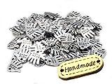 100 Stück Hand Made Metall Knopf Label Anhänger Hand Schild incl. 1 Holzlabel Handmade...