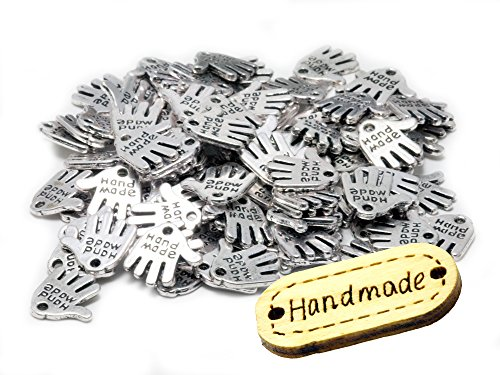 100 Stück Hand Made Metall Knopf Label Anhänger Hand Schild incl. 1 Holzlabel Handmade Schmuckperlen Bastelperlen silberfarben