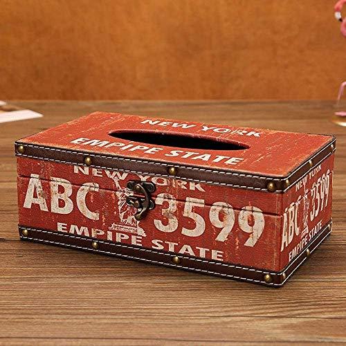 Tenedor de cubierta de caja de pauelos retro, cuaderno de madera impermeable cuadrado de madera cubierta de tejido caja de testamento dispensador de servilleta apto oficina cocina bao bao vida