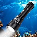 Wurkkos Lampe de plongée très Lumineuse, 2000Lumens, étanche IPX-8 de 150M, Eclairage Submersible avec Ampoule Cree XHP35 HD LED, 1 Pile 18650 et Chargeur