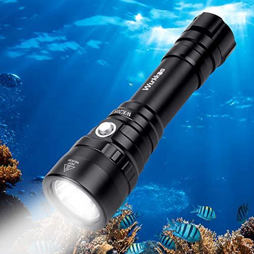 Wurkkos Tauchlampe, 2000 Lumen Taschenlampe, 150m wasserdicht Submarine Licht,SST-40 LED-Tauchlampen mit 1x18650 Akku und Ladegerät, IPX-8 wasserdicht für Aktivitäten im Innen- und Außenbereich