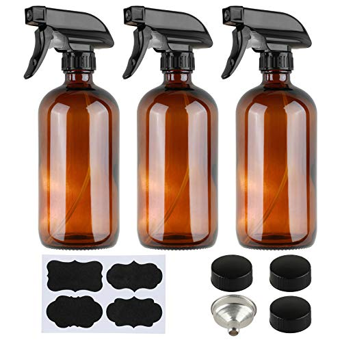Empty Amber Glass Spray Bottles with Funnel and Labels for Essential Oils (3 Pack) 16 oz Refillable Container - Trigger Sprayer with Mist and Stream Settings or Aromatherapy