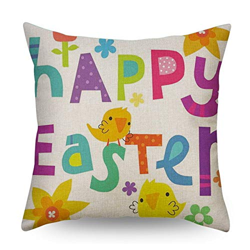 Happy Bunny Rabbit Creative Kussenhoes Animal Office Slaapkamer Kussenhoes Happy Easter Kussen Linnen Sierkussen Hoes 45 * 45 Cm Paars