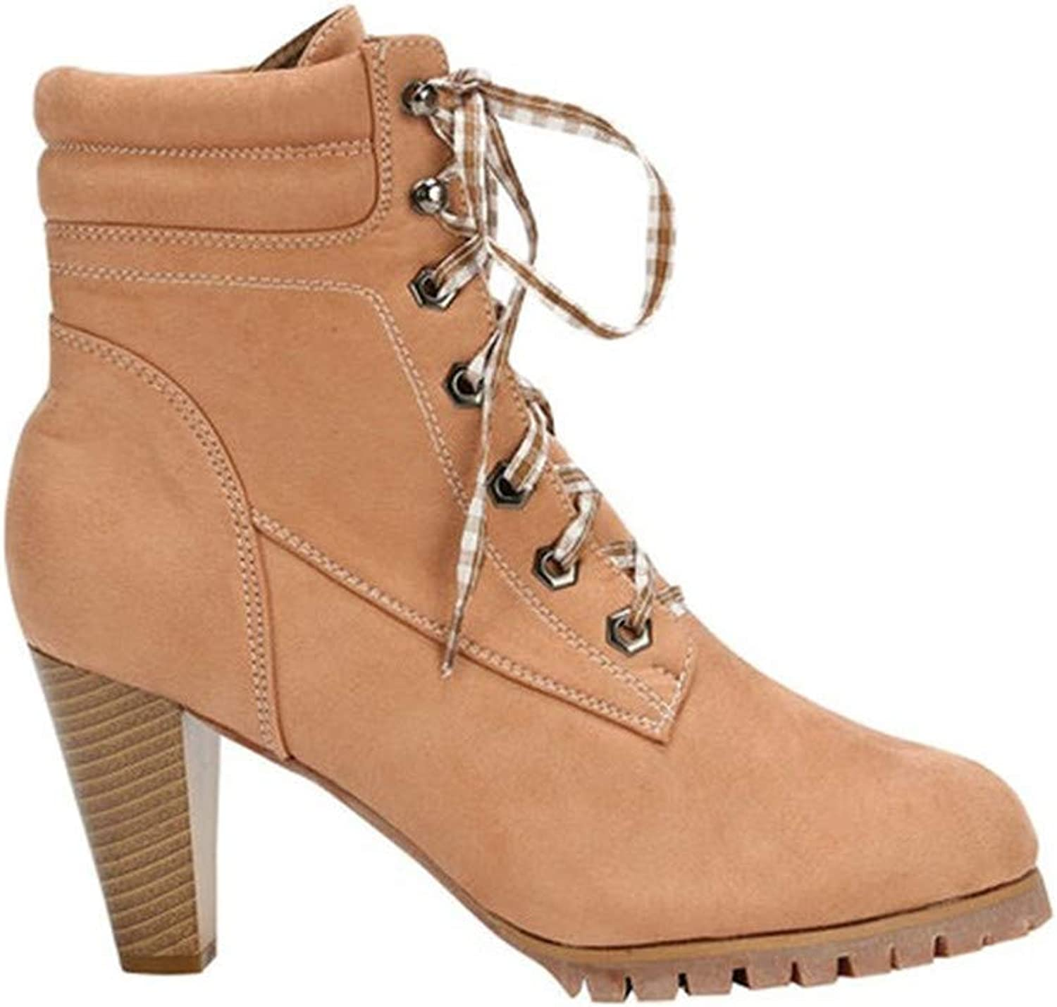 Winter Ladies shoes with High Heels Round Head Boots Large Size PU Leather Warm Imitation Leather Lining