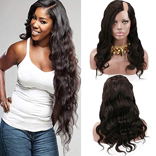 Rossy&Nancy Best Brazilian Human Hair Natural Black Color Body Wave U Part Lace Front Wig with Baby Hair for Black Women 22inch