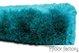 floor factory Exklusiver Hochflor Shaggy Teppich Satin türkis/blau 120x170 cm - edler, seidig glänzender Teppich - 6