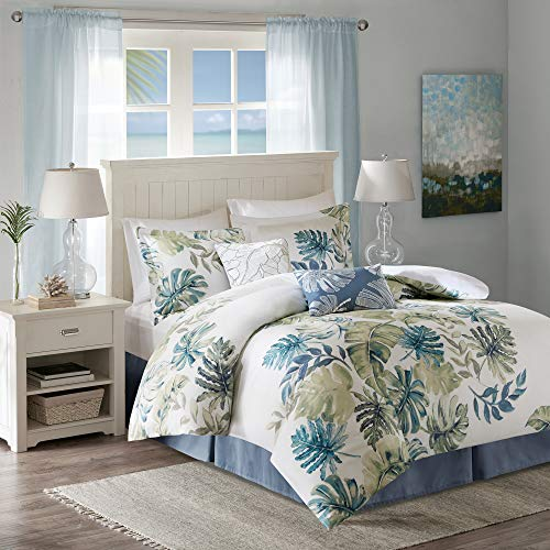 "Harbor House Cozy Cotton Comforter Set-Coastal All Season Down Alternative Casual Bedding with Matching Shams, Decorative Pillows, Full(80""x90""), Monstera Leaf Green 6 Piece"