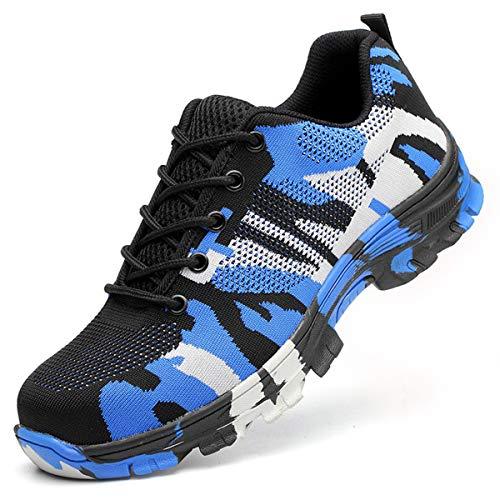 SUADEEX Arbeitsschuhe Damen Herren Sicherheitsschuhe s3 Leicht Stahlkappen Sportlich Schuhe, 05-blau, 43 EU