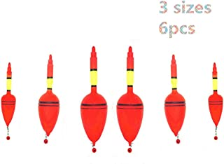 Toasis Plastic Fishing Drift Floats Slip Bobbers with Snap Connectors Plus Rubber Stoppers Assorted Sizes Pack of 6pcs