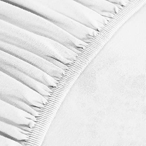 Sleepwise Sábana Bajera Premium 140-160x200cm, Bajera Ajustable, 100% Microfibra Polar, Altura de colchón de 30 cm, ÖKO-Tex, sin sustancias nocivas, Adecuado para alérgicos, Blanco