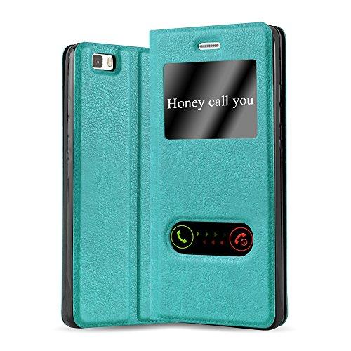 Cadorabo Funda Libro para Huawei P8 Lite 2015 en Turquesa Menta - Cubierta Proteccíon con Cierre Magnético, Función de Suporte y 2 Ventanas- Etui Case Cover Carcasa
