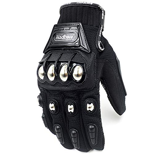 2020 Hot Motorcycle Motorbike Gloves Metal Knuckle Armored Racing Motocross Short Touch Screen Polyester (Black, M)