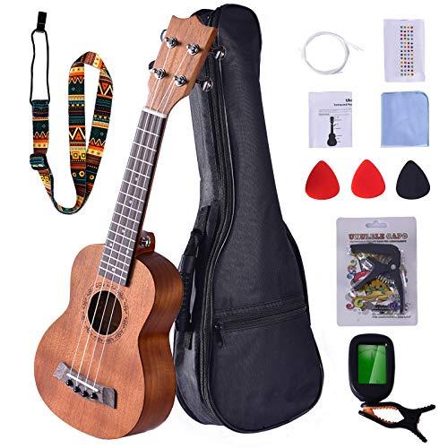 Sararoom Soprano Ukelele de 20.9in con bolsa de concierto, Ukelele de madera para principiantes con sintonizador digital (sin batería), correa, púas, cuerda de nylon, juego de paño de limpieza, Capo