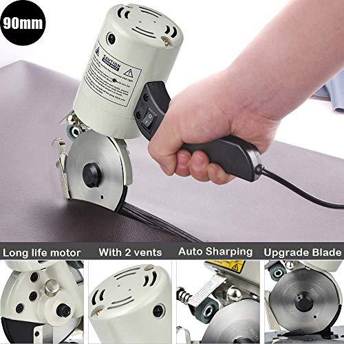 4YANG Elektrische schaar, 90 mm, 220 V, elektrische stofsnijder met automatische scherpteapparaat, schoon, zonder bramen, zonder kreuken