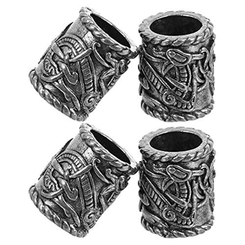 PIXNOR 4 Piezas Dreadlocks Abalorios Vintage Vikingo Trenzado de Pelo Antiguo Dreadlocks Joyería Tubo Norse Accesorios para El Cabello para Hombres Y Mujeres