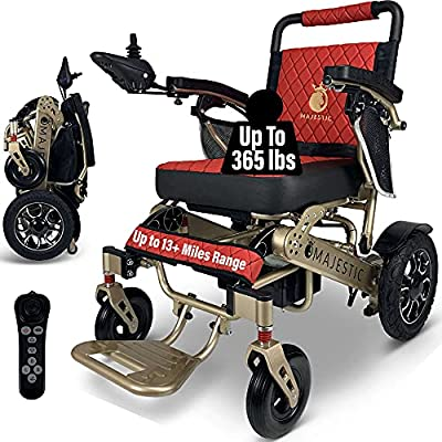 Electric Wheelchair for Adults, Foldable Lightweight All Terrain Wheelchairs, Limited Edition Power Motorized Electric Wheel Chair, Comfortable Remote Control Mobility Aid (Bronze, Red) by SHENZHEN CHITADO TECHNOLOGY CO LTD