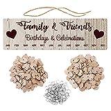 NUOBESTY - Calendario de cumpleaños para familia, amigos, de madera, placa de pared, letrero para puerta, decoración para Navidad, regalos