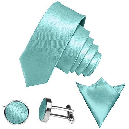 GASSANI 3-SET Krawattenset, 6Cm Schmale Mint-Gruene Herren-Krawatte Dünn Manschettenknöpfe Ein-Stecktuch, Bräutigam Hochzeitskrawatte Glänzend