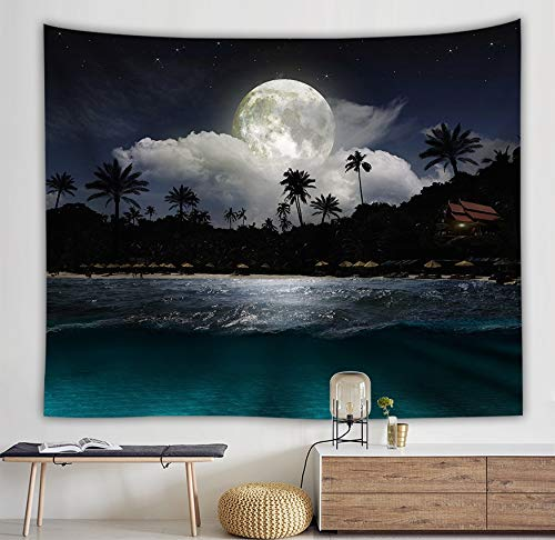 WERT Sea Rises Bright Moon Tapiz Colgante de Pared Moon Light Tapices Estilo Fresco Paisaje Mar Negro Hippie Paño de Pared Home Deco A5 150x200cm