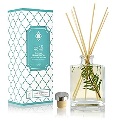 Luxe Home Scented Reed Diffuser Oil and Sticks for Large Rooms | Real Flowers Inside The Bottle | Makes a Beautiful Gift Idea