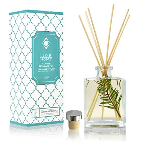 Luxe Home Alpine Balsam Fir Holiday Reed Diffuser Oil Sticks Set   Christmas Tree Scent with Evergreen, Pine & Woodsy Notes   Festive Christmas Decor Makes a Great Gift Idea