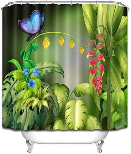 Douchegordijn Rood Geel Blauw Bloemen Vlinder Polyester Stof Waterdicht en Meeldauw 3D Hd afdrukken Huisdecoratie 180x 200cm 12 Haken