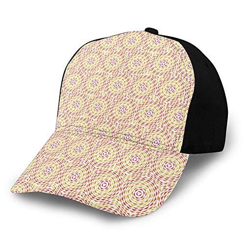 FULIYA Gorra de béisbol unisex con borde curvado, diseño circular concéntrico con círculos geométricos, arte contemporáneo tela de sarga de poliéster para papá