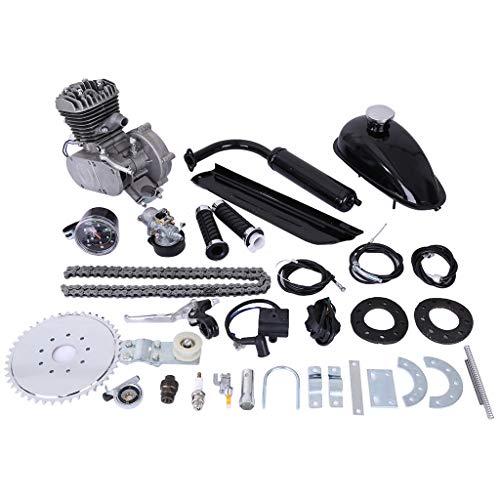 HEIKA PK80 80cc Bicycle Engine 2-Stroke Gas Motorized Bike Motor Kit with Speedoemter (Black)
