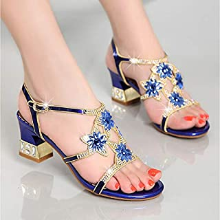 b6d646142170 IWlxz Women s Nappa Leather Glitter Summer Club Shoes Sandals Chunky Heel  Rhinestone Gold Purple
