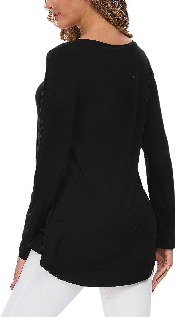 WNEEDU Women's Fall Long Sleeve V-Neck T-Shirt Tunic Tops Blouse Shirts