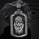 Retro Nordic Mythology Collar colgante etiqueta de Odin de estaño puro para hombres, joyería de amuleto pagano medieval vikingo hecha a mano, con cadena de acero de titanio Valknut Rune Gift Bag