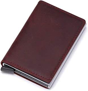 AiKoch Genuine Leather Credit Card Holders Case Metal Men Women Business Bank Id Card Box Wallet For Credit Cards Convenie...