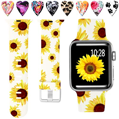 Laffav Compatible with Apple Watch Band 40mm 38mm iWatch Series 5 4 3 2 1 for Women Men, Sunflower, M/L