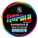 Rapala(ラパラ) PEライン ラピノヴァX マルチカラー 200m 0.8号 17.8lb 4本編み 10m毎に5色分け RXC200M08MC
