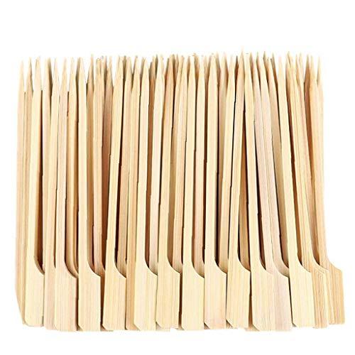 Newin Star Pinchos de Madera Barbacoa Palos de bambú Pinchos Desechables Paddle Largo Palillos de bambú Pinchos de bambú Barbacoa Pinchos Paddle de cóctel para Barbacoa Fruit Snacks 12cm 100PCS