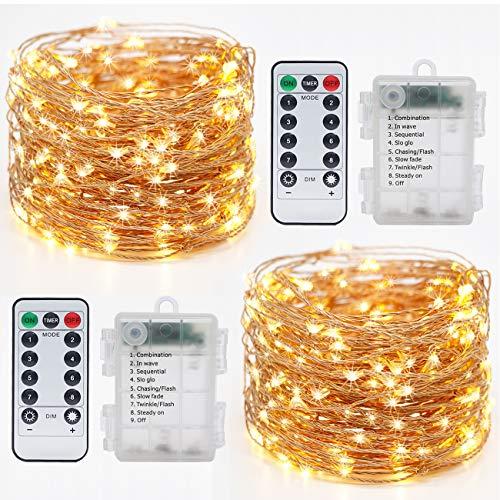 2 Pack Guirnalda Luces, Hepside Luces LED Decoracion 12M 120 LED Guirnalda...