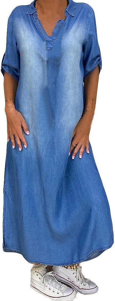 Tsmile Denim T-Shirt Dress 1/2 Sleeve Maxi Dresses for Women Plu