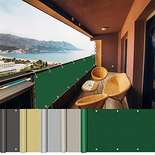 AEREY Pantalla para balcón 80x300cm, Balcón Pantallas Protectoras, Instalación Simple y Segura Privacidad de Balcón y Pantallas Protectoras Ideal para Balcón, Piscina - Verde Oscuro
