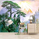 Papel Pintado Pared Dormitorio Infantil 200X150cm Pino Verde De La Cima De La Montaña Minimalista Moderno Fotomural Mural Para Paredes Decorativo Comedores, Salones,Habitaciones