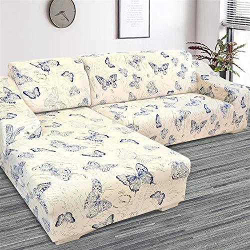kengbi Funda de sofá duradera y fácil de limpiar, 2020 impreso en forma de L para sofá de sala de estar, protector de sofá, fundas elásticas antipolvo, para la funda de sofá de esquina