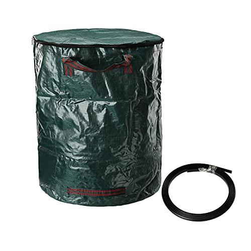 ZRSWV Gartenabfallsäcke, 272 l, Gras-Sack mit Deckel, Hof-Müllsack mit Reißverschluss und Griffen, Garten-Tragetasche für Laub, Gras, Laub, Laub, Gras