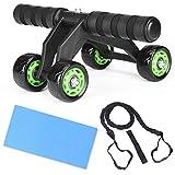Hansiro AB Roller – Entrenador de abdominales con esterilla para rodillas y banda de resistencia para fitness, 4 ruedas, aparato abdominal para hombres y mujeres