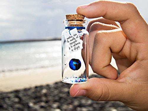 Eres mi mundo -Mensaje en una botella. Miniaturas. Regalo personalizado. Divertida postal de amor.