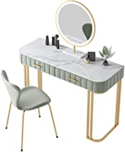 Simple Nordic Household Marble Flannel Dressing Table with Lamp Corner Dressing Table Mirror Set Makeup Dresser Table with...