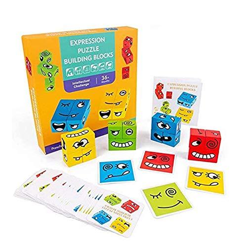 SKAJOWID Carta Game Cube, cubo Magico di Legno Viso Emoji Modello Building Blocks Bambino Giocattoli Bambini Montessori, Bambino Piccolo Puzzle impilamento Gioco Legno Jigsaw 12 Pezzi (50 Carte)