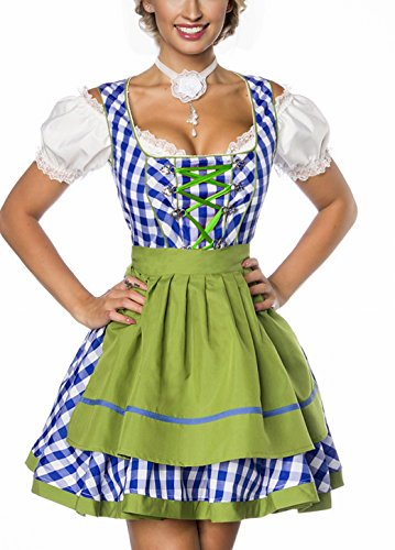 Onbekend Dirndl jurk kostuum met schort minidirndl met ruitmotief en uitgereikte rokdeel Oktoberfest Dirndl blauw/groen/wit